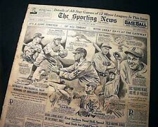 JOE DIMAGGIO New York Yankees Baseball Hitting Streaks ENDS 1941 Old Newspaper
