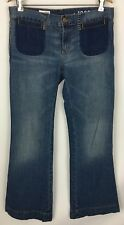 Gap 1969 Boyfriend Flare Jeans Boho Trouser Med Distressed Wash Size 28/6