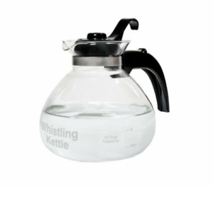 Cafe Brew Collection WK112 by Medelco 12 Cup Glass Stovetop Whistling Kettle