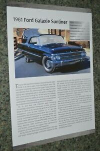 ★★1961 FORD GALAXIE SUNLINER INFO SPEC SHEET PHOTO FEATURE PRINT 61 390★★