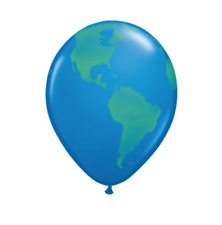 "Qualatex 11"" Latex Balloons - Planet Earth Globe Pack of 6"