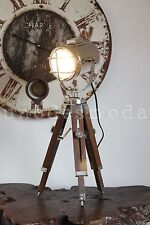 Tripod Nautical Lamp Spot Light Rustic Bedside Table Chrome Marine Home Decor