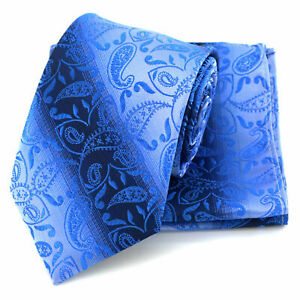 Tie Pocket Square Cufflinks Blue Silver Paisley Stripe Set 100% Silk Wedding