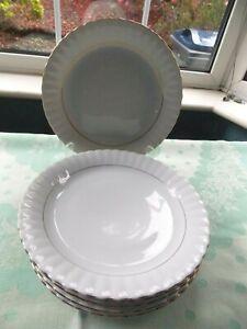 Vintage Chodziez Polish  Iwona Six 24 cm White & Gold Dinner Plates