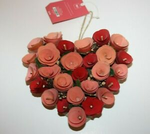 NEW Pier 1 Valentine's Day Red Wood Curl Wreath Decoration HEART ORNAMENT NWT