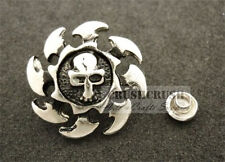 10Sets Antique Silver Round Skull with Rowel RIVETS Leather Decoration RV8219