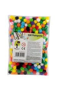 OfficeTree Pompons 500 Stk. Filz Kugeln Bommel Basteln für Kinder und Erwachsene
