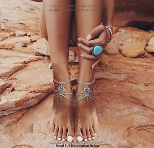 ARIZONA SUNRISE ANKLE BRACELETS - SEXY TURQUOISE AND SILVER JEWELRY - FREE SHIP'