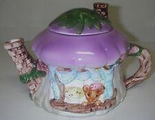 Collectible Novelty TEAPOT Ceramic Cottage Nushroom Spout Chimney Mouse Window