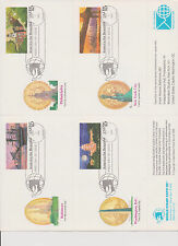 US 1989 FDC 4 America the Beautiful Postal Cards Test Sheet World Stamp Expo |