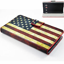 Fashion Wallet Leather US Flag Stand Card Case Cover For HUAWEI Ascend Y300