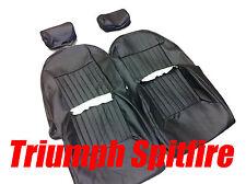 TRIUMPH SPITFIRE / GT6 Sitzbezüge 1 Paar Schwarz Vinyl Mit Kopfstütze Abdeckung