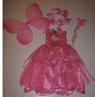 Robe FEE complète  ROSE + ailes + baguette + couronne - 3/4 ans - NEUVE