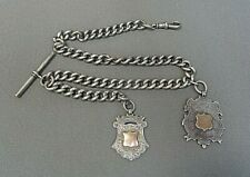 With 2 Unique Fobs Sterling-Antique Henry Pope Pocket Watch Chain