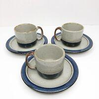 OTAGIRI MARINER Set of 3 Stoneware Mugs Cups and Saucers Japan Glazed Pottery