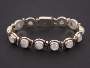 """Moonstone Tennis Bracelet Sterling Silver Ladies 7.25"""" Stunning 925 31.2g Ka85"""
