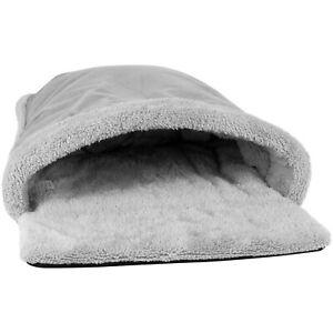 Cat Pouch Bed Cosy Grey Fleece Pet Hideaway Kitten Sleeping Soft Cave House