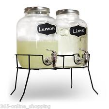 Dual Mason Jar Drinks Dispenser with Stand 8ltr Mason Jar Beverage Dispenser UK
