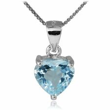 2.6ct Natural Blue Topaz Heart Pendant Necklace 925 Silver special occasion Gift