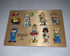 Vintage 1971 Fisher Price Occupations Wood Preschool Puzzle #503 8 pieces