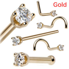 5PCS/Set Rhinestone Nose Studs Screw Ring Bone Bar Pin Piercing Body Jewelry