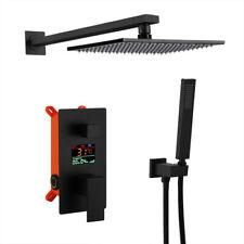 3-Way Matte Black Shower Faucet Unit Rain Head Waterfall Tub Spout Handheld Tap