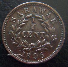SARAWAK CHARLES BROOKE 1/4 CENT 1896H COIN
