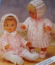 "Baby Dolls Vintage Knitting Pattern Matinee Coat Bonnet Bootees 12-20"" DK L1042"