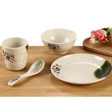 Dinnerware Set Round 4 Pcs Dinner Plates Cups Bowl Dishes Spoon White 6