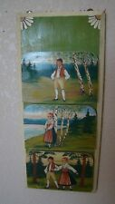 Hand Crafted Hand Painted Swiss Scenes Wood Wall Hanging Mail Bills Holder