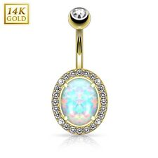 14K Solid GOLD Oval Opal BELLY Button RINGS Navel Bar Barbells Piercing Jewelry