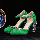 Retro Womens Suede Buckle Shoes Ankle Strap Rhinestone Block High Heel Round Toe