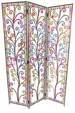 3 Panel Tear Drop Colourful Diamonte Detail Metal Room Divider Screen 173x124cm