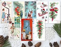 """Set of 8 Vintage Retro 50's/60's Style Christmas ATC Tags/Toppers - 2"""" x 4"""""""