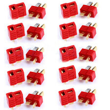 10 Pairs Female+Male Grip T Connector Plug Deans Plated for RC Lipo/NiMH Battery