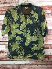 Men's Tommy Bahama 100% Linen Hawaiian Floral Button Down Shirt Size Medium