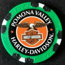 POMONA VALLEY HD~ 25th Ann ~CA~ (Green/Black)~Harley WIDE PRINT Poker Chip