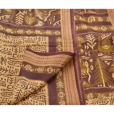 Tcw  Vintage Cream Pure Silk  Sarees Printed Craft 5 Yard Sari Fabric