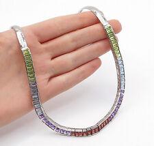 925 Sterling Silver - Topaz Amethyst Garnet & Peridot Chain Necklace - N3097