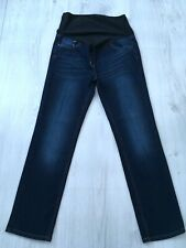 NEXT LADIES BLUE OVER BUMP MATERNITY STRETCH SLIM STRAIGHT JEANS SIZE 10 SHORT