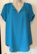 Quality Elegant V neck silky Blue top, blouse, beach, vacation, party,