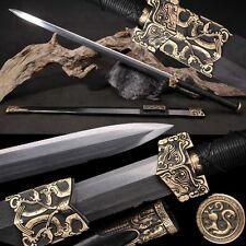 Handmade Boutiqu Chinese Sword Longquan Sword (劍) Pattern Steel Copper Tsuba #46