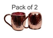 100% Pure Copper Moscow Mule Hammered Mug Round Handle Handmade Set of 2 Mugs