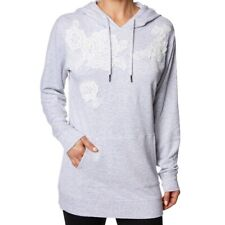 Betsey Johnson Performance Grey Pullover Hoodie with White Floral Embroidery