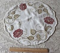 Arts & Crafts/Art Nouveau Silk Society Work Embroidered Roses On Linen c1918~20""