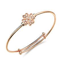 18K Rose Gold Plated Bracelet  Bangle Flower AAA Cubic Zirconia Women's G137