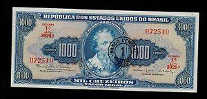 BRAZIL 1 CRUZEIRO NOVO ON 1000 CRUZEIROS ( 1966-67 )  PICK # 187a  XF-AU.