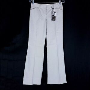 Express Editor Women Pants Flare Striped Low Rise Gray Ivory Size 0 (28x29)