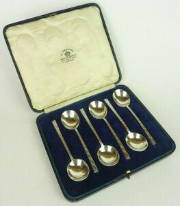 Sterling Silver 6 Coffee Spoons Cased Mappin & Webb Sheffield 1925 Greek Key Set