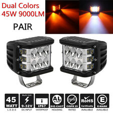 """2X 4"""" 45W 9000LM Offroad LED Work Light Bar Side Shooter Combo Beam White+Yellow"""